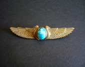 Antique Egyptian Revival / Art Deco/ Art Nouveau French Brooch With Scarab
