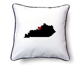 Kentucky Pillow - 18x18 - Kentucky Map - Personalized Name or Text Optional - Wedding - Housewarming Gifts