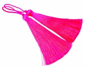Long Neon Fuschia Pink Silk Thread Tassels -  3 inches - 77mm  - 2 pc