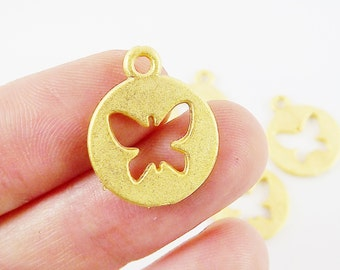 5 Round Cutout Butterfly Charms - 22k Matte Gold Plated