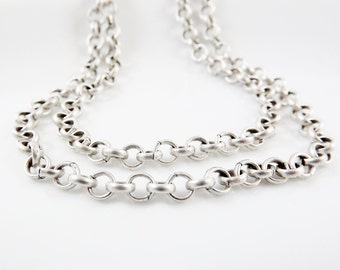 5mm Rolo Chain  - Matte Antique Silver Plated - 1 Meter  or 3.3 Feet