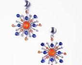Blue Silver Earrings for Women,Orange Dangles,Xmas Presents Idea,Multicolored Dangles,Bright Earrings,Statement Earrings,Christmas Gift Help