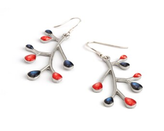 Blue Silver Earrings, Christmas Gift Help, Branch Earrings,Silver Dangles,Nature Jewelry,Multicolor Jewelry,Blue Jewelry,Xmas Presents Ideas