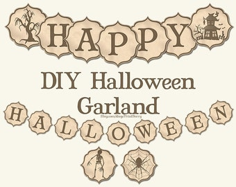 halloween banner printable halloween party decorations diy halloween garland vintage halloween decoration
