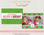5x7 Preppy Christmas Card Template - Merry Prepster Christmas Card 1  -  Photography template - .PSD files - INSTANT download - cct BTS