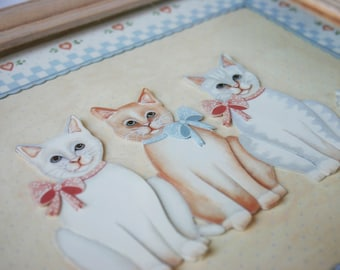 3D Framed Country Cats Print #2