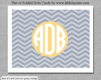 Gray Peach Chevron Monogram Note Cards Set of 10 personalized flat or folded cards