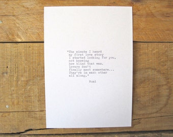 Rumi Quote. Vintage Typewriter quote. Inspirational Love Quote. wall print. 5x7