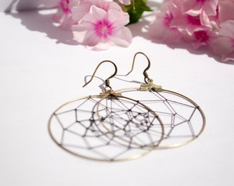 Spider Web - Bronze Dangle Boho Bohemian Beach Black Net Gypsy Earrings