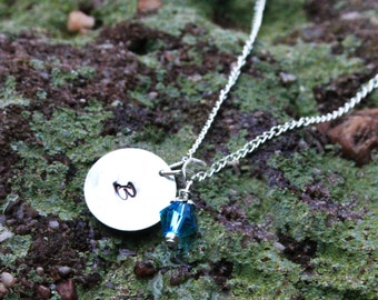 Personalized Initial Necklace - Christmas Gift - Birthstone Necklace - Personalized Handstamped Jewelry