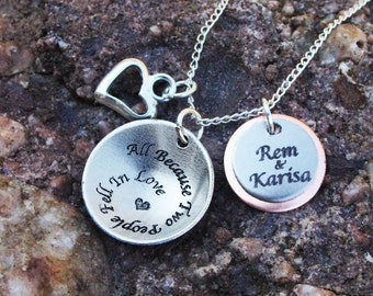 Personalized Couples Necklace- All Because Two People Fell In Love Necklace - Couples Necklace - Mom Necklace - Engraved Necklace