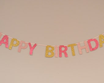 pink gold happy birthday glitter banner