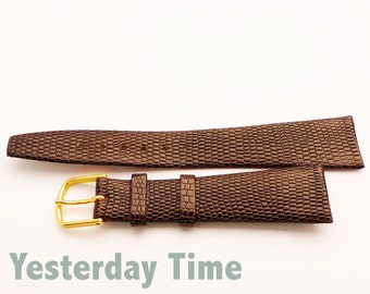 Vintage New Old Stock Brown Lizard calf 20mm Watch Strap