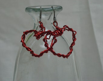 Wrapped Red Copper Wire Heart Earrings
