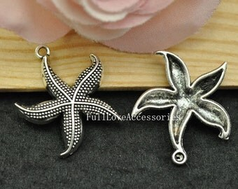 10pcs 26mm Antique Silver Starfish Charms Pendant