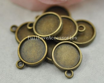 20pcs Antique Brass Cameo Cab Bezel Setting Frame fit 12mm Cabochon Setting, Pendant Setting, Bezel Setting, Cabochon Base Setting