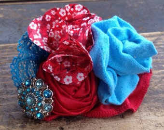 Red & Aqua Fabric Flower Hair Bow, Red Headband, Aqua Headband, Girls Headband, Baby Headband, Flower Hair Clip, Turquoise, Red, Hair Flower