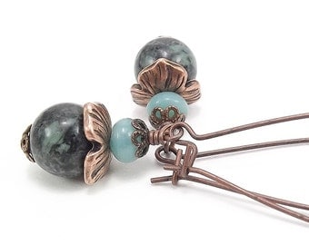 Antique Copper Earrings with Rainforest Jade and Amazonite