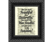 You Are More Beautiful Than Cinderella Bridesmaids Quote Typography Art Wall Decor Salon Art Typographic Print