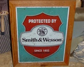 Smith & Wesson custom framed weathered solid cedar wood 15X18 man cave metal sign oak finish country rustic wall hanging display