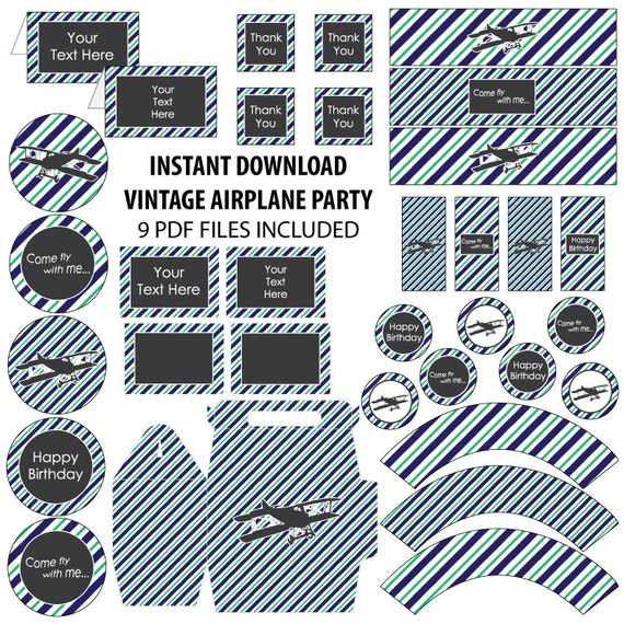 Printable Vintage Airplane Party Collection Diy By: Vintage Airplane Birthday Party, Plane Party, Plane Party