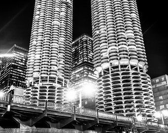 Chicago Art Print - Marina City Towers, Chicago Large Canvas Prints, Metal Wall Art, Framed Home Decor, Wood Wall Decor, Black and White