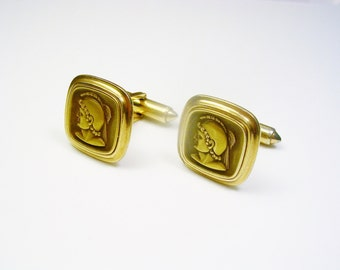 Vintage Cufflinks / KREMENTZ Roman Soldier  / made in USA / Men's Gift / Formal Wear / Groom Best Man, cuff links