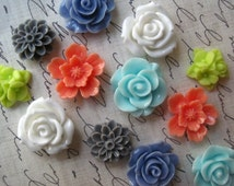 Pretty Fridge Magnets, 12 pc Flower Magnets, Colorful Magnets, Housewarming Gifts, Hostess Gifts, Wedding Favors