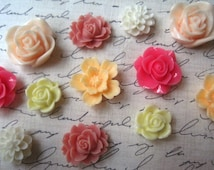 Pink and Peach Magnet Set, 12 pc Flower Magnets, Mixed Color Locker Magnets, Housewarming Gifts, Hostess Gifts, Wedding Favors