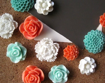 Pretty Push Pins, Thumbtack Set, 12 pc Pushpin Set in Sage, Coral, White, Bulletin Board Tacks, Wedding Decor