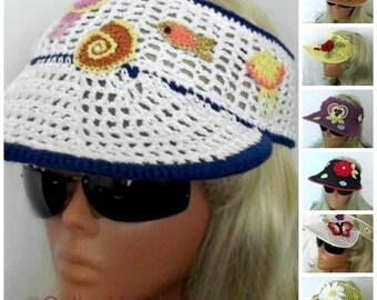 Crochet Sun Visor Summer Headband White With Marine Motifs