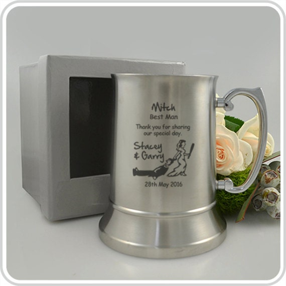 Engraved Wedding Mugs : Engraved Wedding Metal Beer Mug Bridal by PersonalisedFavours