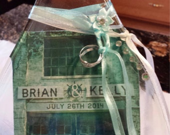 Custom Wedding Flattened Bottle w/ Cheese Spreader - Your Name and Customized Wedding Art - Unique Bridal Gift