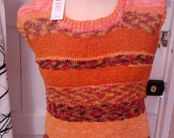 Top, ladies, sweater, jumper, hand knitted in Gedifra Filorosa yarn,striped,  sleeveless, Orange/Green/Gold/Red colours.FREEPOST UK