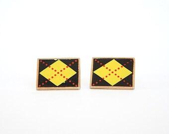 Argyle CuffLinks - Swank Cufflinks - Vintage Cufflinks - Mens Accessories - Retro Cool Gift for Guys - Mens Cufflinks - Boyfriend Gift