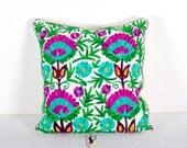 Suzani Pillow Cover, Suzani Throw Pillow, Decorative Pillow, Indian Pillow Cover, Pillowcase, Cushion Cover, Ethnic Pillow, Floor Pillow