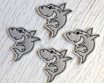 UNCUT Exclusive EmbroiderThat Shark felt applique embellishment feltie hair bow center (4)