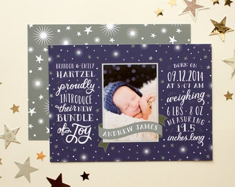 Hand Lettered Birth Announcement, Photo Announcement - Tiny Bundle