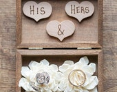 Ring Bearer Box - Shabby Chic Rustic Wedding Decor - Ring Pillow - Personalized Ring Box - Ring Bearer- Wedding Ring Box - Box for Rings
