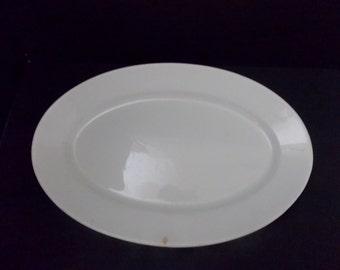 Homer Lauglin, Oval White Ironstone Platter, Antique Large Plain White Ironstone Platter,  Farmhouse Decor, Rustic, Plain White, Large