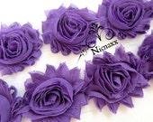 Shabby Flower Trim, Solid Purple Chiffon Rosette flower trimming, Wholesale by the yard, Shabby Chiffon Flower Rose Trim,