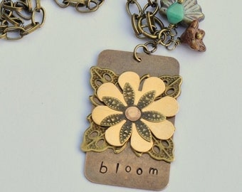 Bloom Vintaj Hand Metal Stamped and Riveted Pendant Necklace with Czech Glass Beads