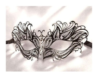 Beautiful Butterfly Masquerade Masks Laser Cut Venetian Mask Halloween Clear Crystals Black or Gold