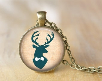 Deer Pendant Necklace Antlers Jewelry Art Photo Print Pendant Gift For Her (078)