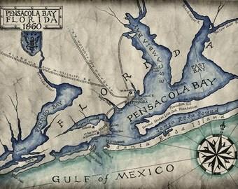 Pensacola Bay Map c. 1860, Pensacola, Florida Maps, Pensacola Beach, Gulf Breeze, Perdido Bay, Gulf of Mexico, Old Maps, US Navy, Florida