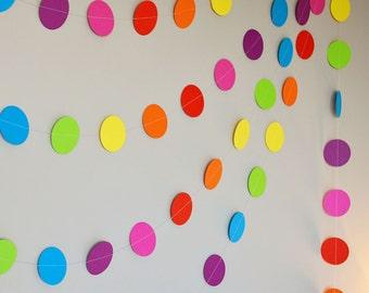 Rainbow Confetti Paper Garland - 10ft (3m) Length