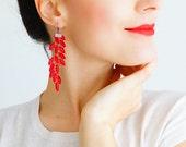Gemella Red Earrings Lace Earrings Long Earrings Dangle Earrings Fabric Earrings Statement Earrings Gold Earrings Red Accessory
