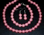 Bright Pink Pearl Bridal Set jewelry