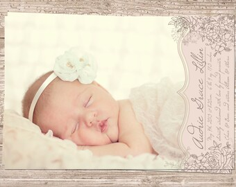 Printable Blush Pink & Ivory Vintage Floral Flower Baby Girl Birth Announcement - 4x6 or 5x7, JPG or PDF