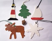 Maine pottery ornaments set of five - sailboat, moose, lighthouse, snowflake, tree, Christmas ornament pottery, hand-painted, gifts under 25